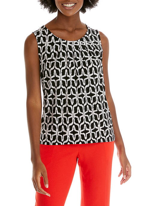 Womens Geometric Knit Sleeveless Top