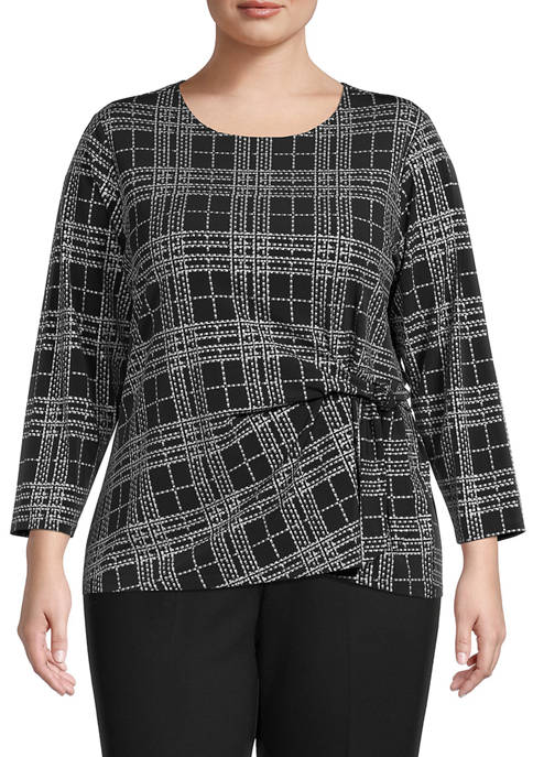 Plus Size 3/4 Sleeve Metallic Plaid Side Tie Knit Top