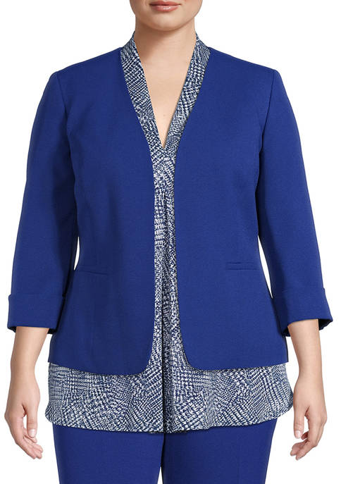 Kasper Plus Size Long Sleeve Crepe Seam Jacket