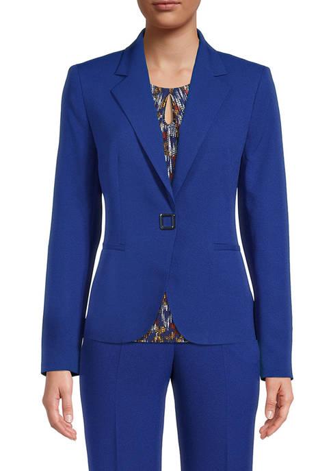 Kasper Womens Snap One Button Notch Lapel Jacket