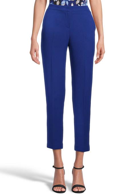 Kasper Womens Elastic Waist Crepe Crop Pants