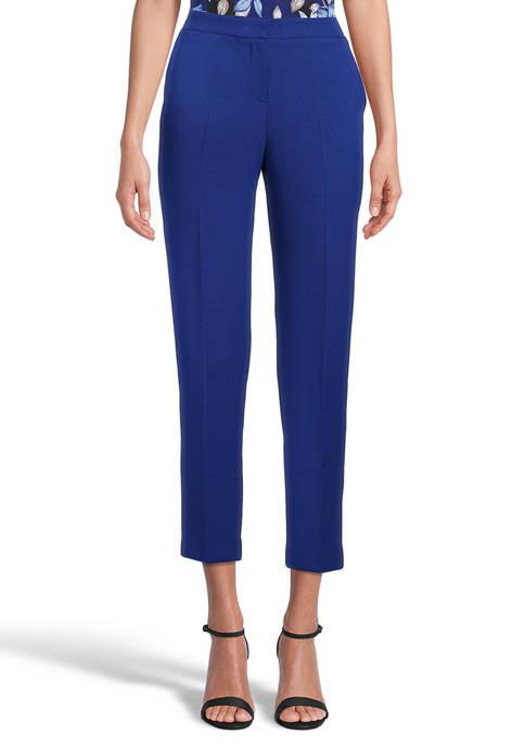 Petite Side Elastic Crepe Crop Pants