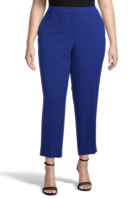 Kasper Plus Size Side Elastic Crepe Crop Pants