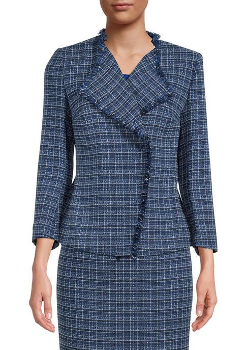 Womens Long Sleeve Tweed Fringe Jacket