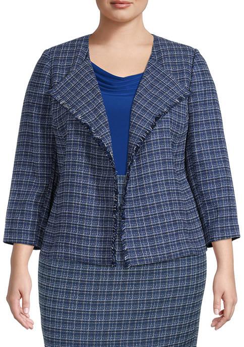 Plus Size Long Sleeve Tweed Fringe Jacket