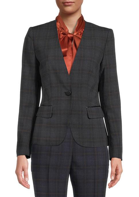 Kasper Womens Collarless Plaid One Button Jacket
