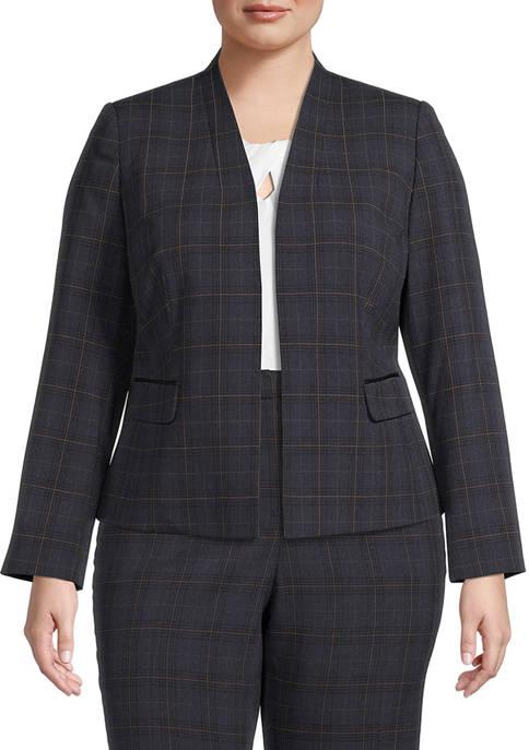 Kasper Plus Size Collarless Plaid Single Button Jacket