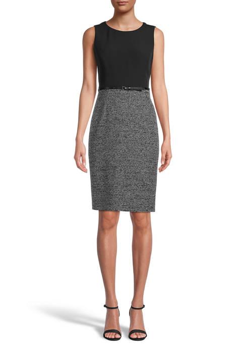 Kasper Womens Sleeveless Jewel Neck Stretch Dress