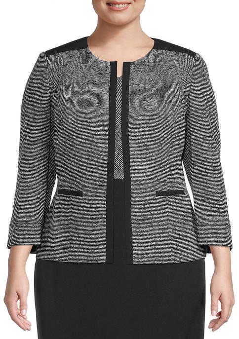 Plus Size Tweed Jacket with Yoke