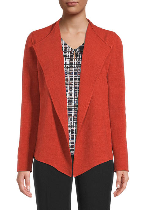 Womens Crepe Crop Drape Jacket