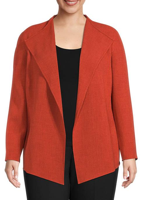 Kasper Plus Size Crop Crepe Drape Jacket