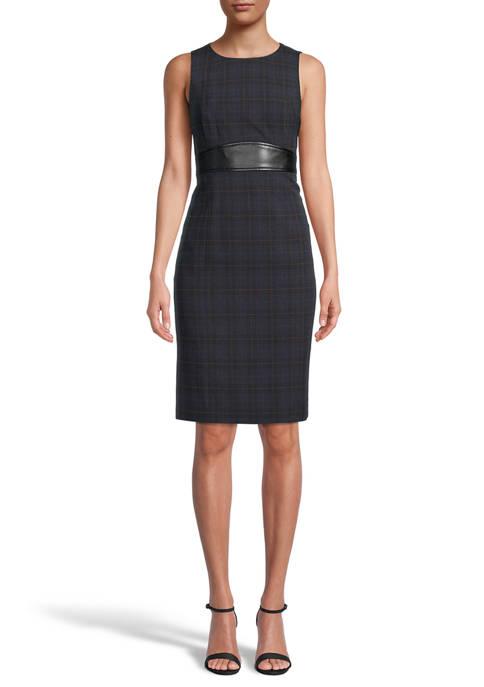 Kasper Womens Sleeveless Plaid Dress with Waistband Detail