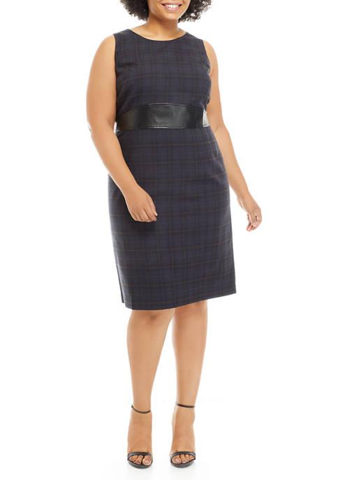 Kasper Plus Size Sleeveless Plaid Princess Waist Dress