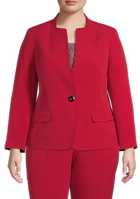 Plus Size Basic Crepe One Button Jacket