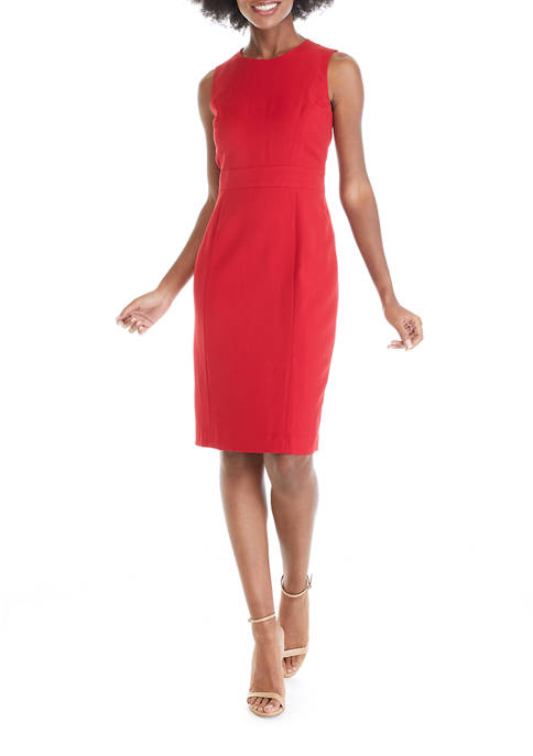 Kasper Petite Basic Crepe Button Waist Sheath Dress