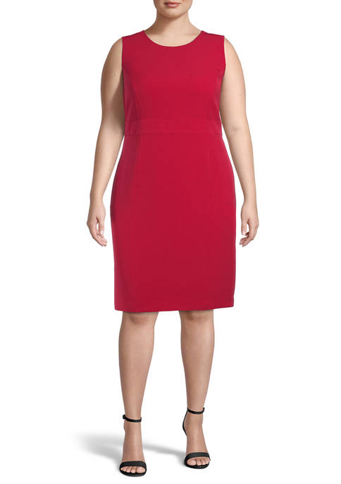 Kasper Plus Size Basic Sleeveless Crepe Button Waist