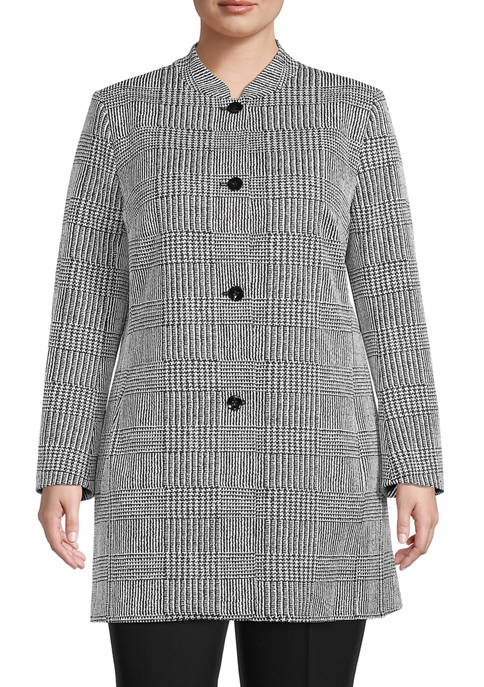 Kasper Plus Size Glen Plaid Blazer