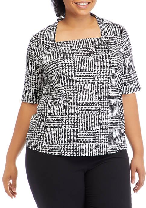 Plus Size Elbow Sleeve Square Neck Top