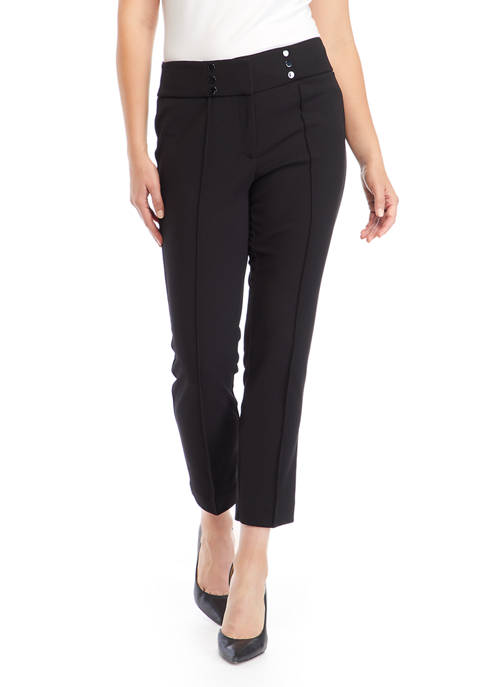 Kasper Womens High Waisted Cool Crepe Ankle Pants