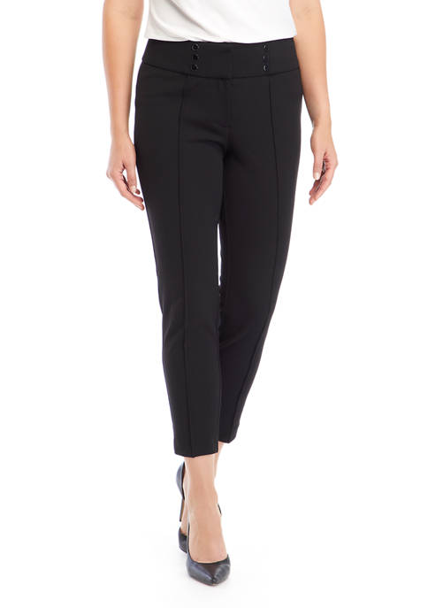 Petite High Rise Crepe Ankle Pants