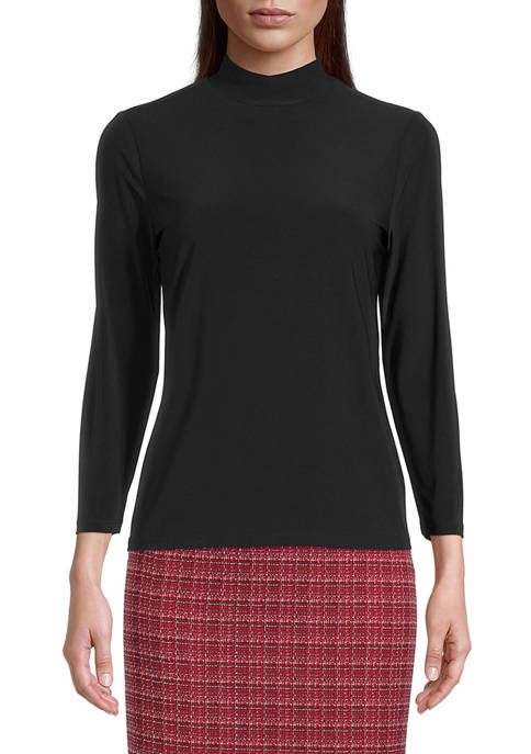 Kasper Womens Long Sleeve Mock Neck Knit Top