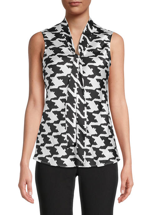 Womens Sleeveless Houndstooth Twill Tie Blouse