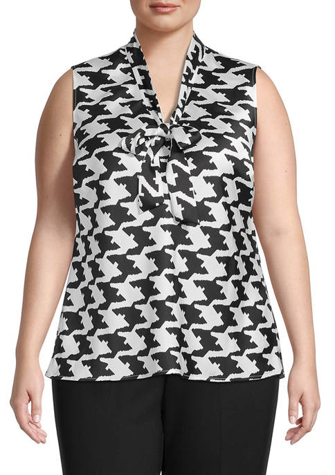 Plus Size Sleeveless Houndstooth Twill Tie Blouse