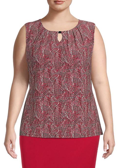Kasper Plus Size Sleeveless Confetti Print Knit Top