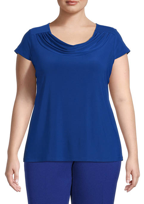 Kasper Plus Size Short Sleeve Cowl Neck Top