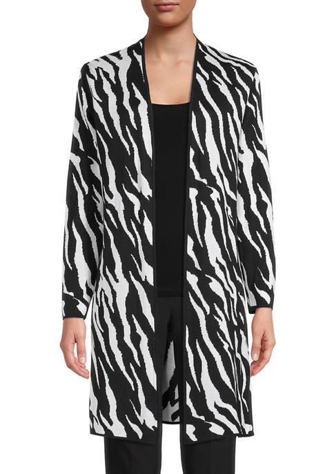 Kasper Womens Long Sleeve Zebra Print Jacquard Side