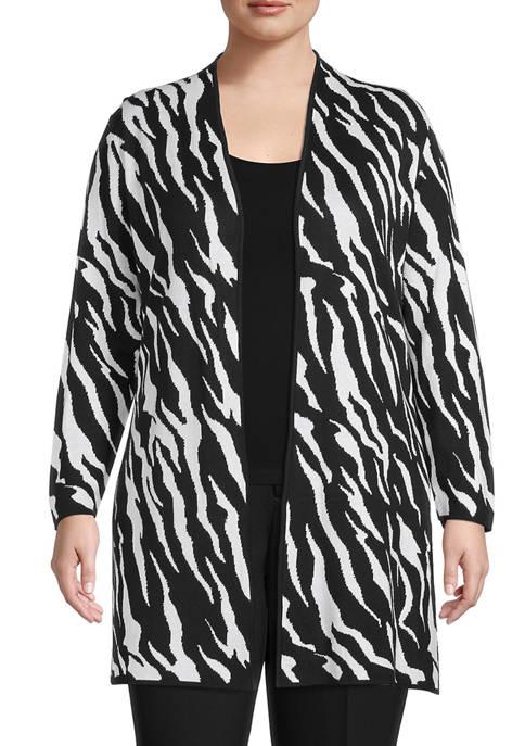 Kasper Plus Size Zebra Print Jacquard Side Slit