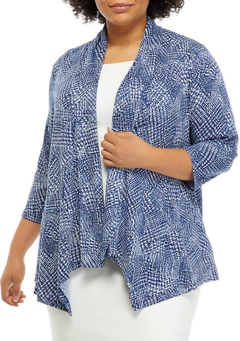 Plus Size Blurred Texture Cardigan