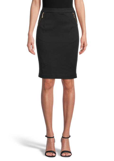 Kasper Womens Ponte Skirt with Zipper Pockets