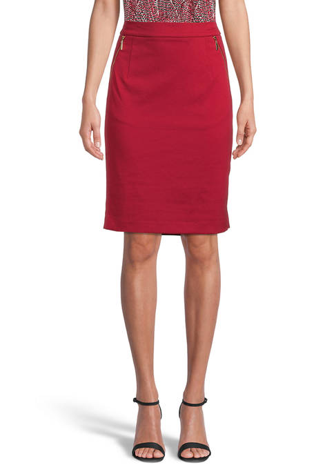 Kasper Womens Ponte Skirt with Zipper Pockets