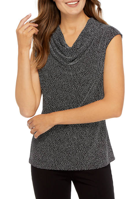 Womens Cap Sleeve Speckle Dot Drape Neck Knit Blouse