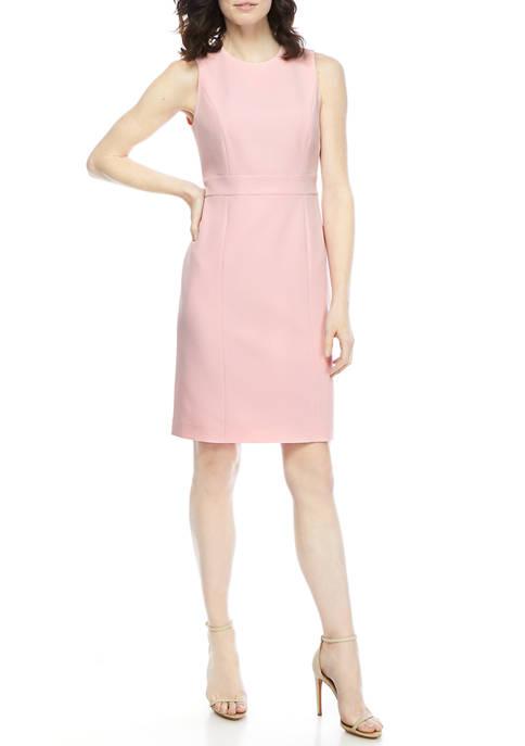 Kasper Womens Stretch Crepe Sleeveless Dress