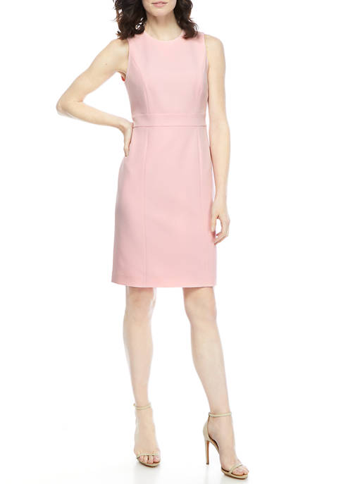 Kasper Petite Stretch Crepe Sleeveless Dress with Banded