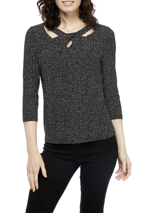 Kasper Womens Printed Drape Neck Dot Knit Top