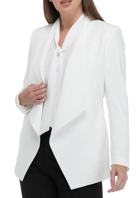 Kasper Womens Crepe Drape Front Jacket with Elastic