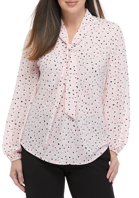 Kasper Womens Tie Front Blouse with Long Sleeves
