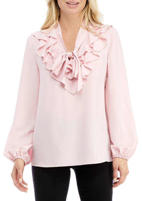 Kasper Petite Ruffled Blouse with Tie Front