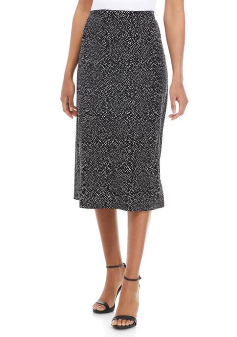 Kasper Womens Printed Jersey Midi Flared Skirt