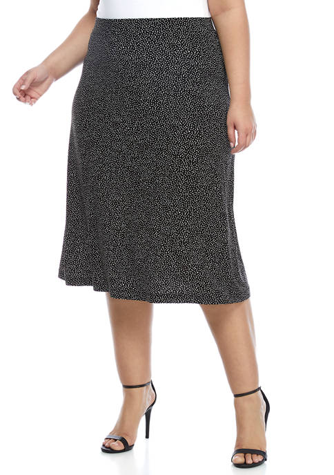 Kasper Plus Size Printed Jersey Midi Flared Skirt