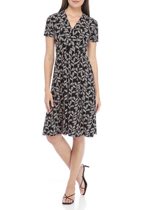 Kasper Womens Short Sleeve Crossover V-Neck Printed Knit