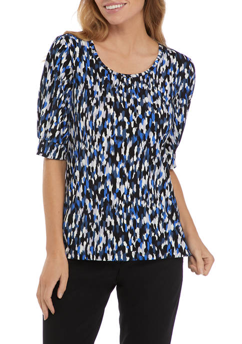 Kasper Womens Printed Knit T-Shirt with Puff Sleeves