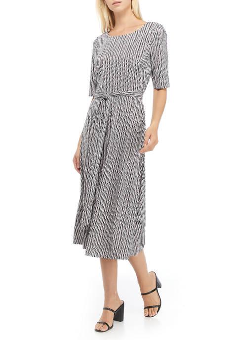 Kasper Womens Short Sleeve Midi Dress with Tie