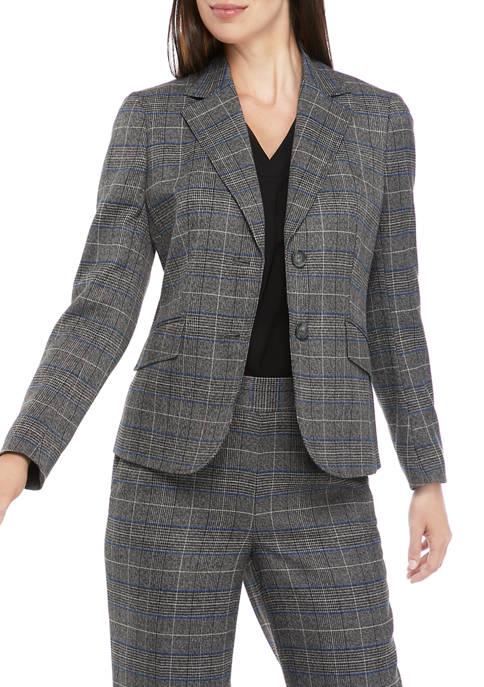 Womens Long Sleeve 2 Button Plaid Jacket