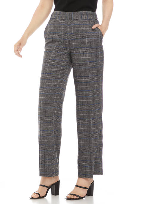 Kasper Womens Wide Leg Plaid Pants