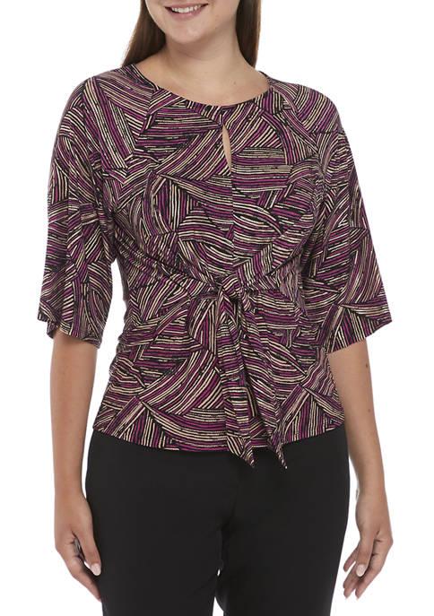 Kasper Womens Short Sleeve Tie Front Printed Top
