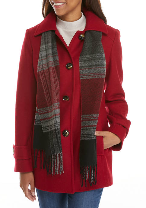 Womens Single Breasted Wool Coat with Scarf